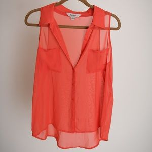 Like new orange, coral button down tank top blouse
